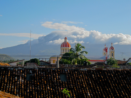 View of the Cathedral and volcano in Granada