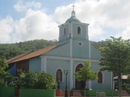 San Juan del Sur's simple blue church – a gathering place for the community.