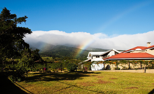 A rainbow arcs over San Isidro de Grecia, in the Central Valley.