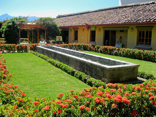 Many beautiful colonial homes and courtyards can be found in Granada, Nicaragua.