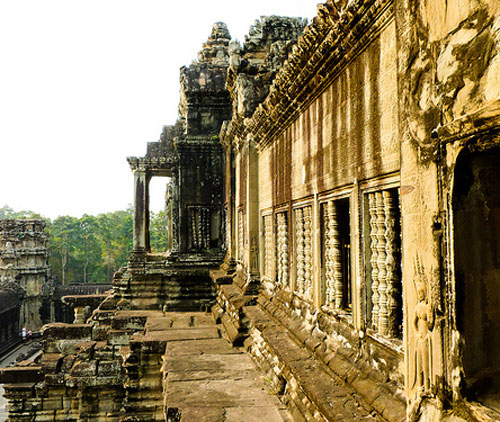 Angkor, Cambodia is one of the most important archaeological sites in Southeast Asia and includes the remains of the Temple of Angkor Wat.