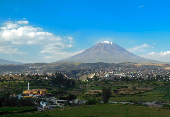 Arequipa—Peru's second largest city—is situated at the foot of the enormous Mount Misti, a volcanic mountain and beloved landmark.