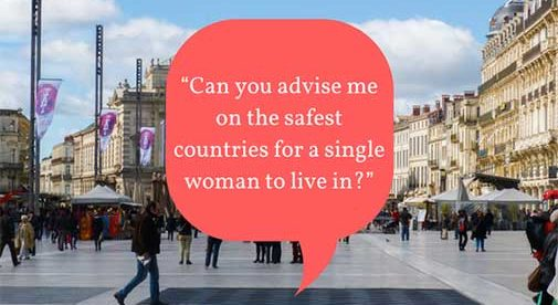 """Can you advise me on the safest countries for a single woman to live in?"""