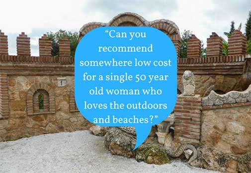 Can you recommend somewhere low cost for a single 50 year old woman who loves the outdoors and beaches?