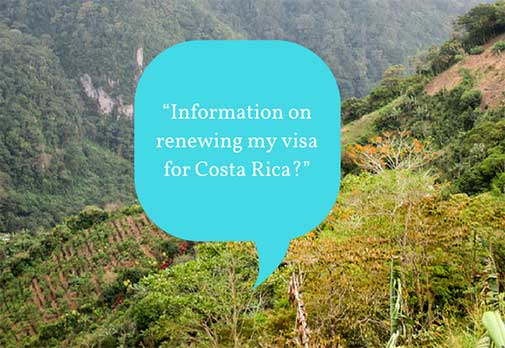 Information on renewing my visa for Costa Rica?