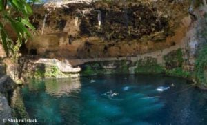 The cool, blue waters of Cenote Zaci located in the town of Valladolid