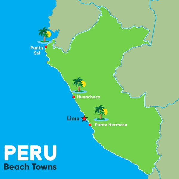 Peru Map Beach Towns