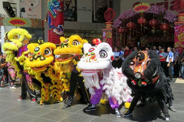 Revelers in dragon costumes, Kota Kinabalu, Malaysia