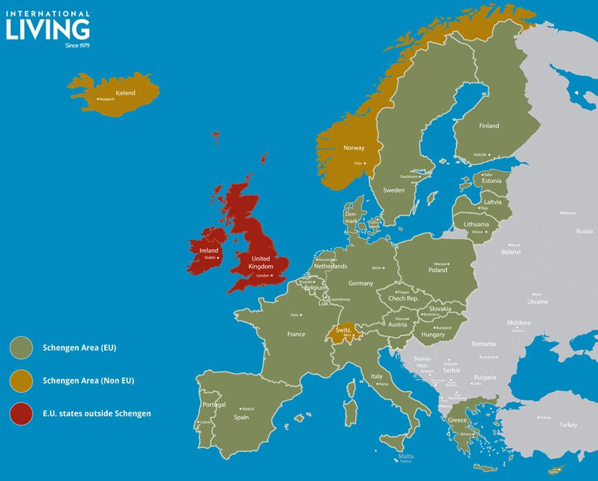 Schengen Zone Map