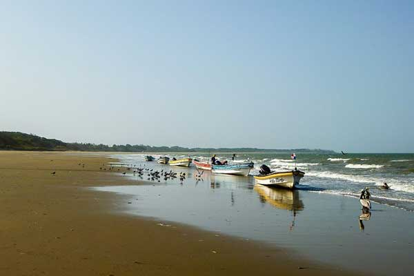 A line of panga fishing boats beached at Playa Arenal