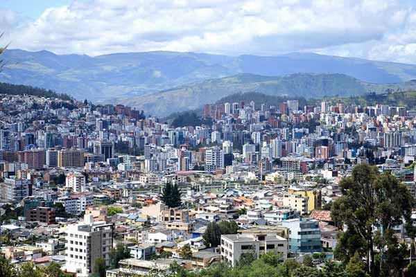 View of Quito and the surrounding Andes mountains