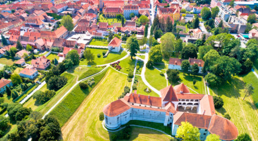 Town of Varazdin historic center and famous landmarks aerial view, northern Croatia
