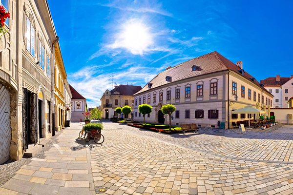 Baroque town of Varazdin square panoramic view, northern Croatia