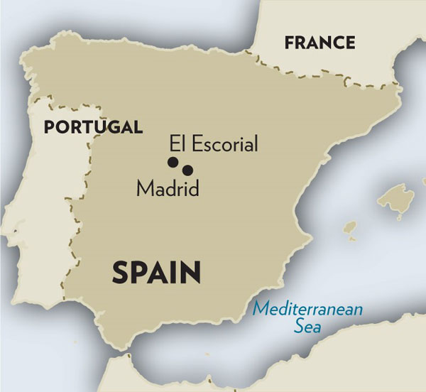 El Escorial on Map of Spain