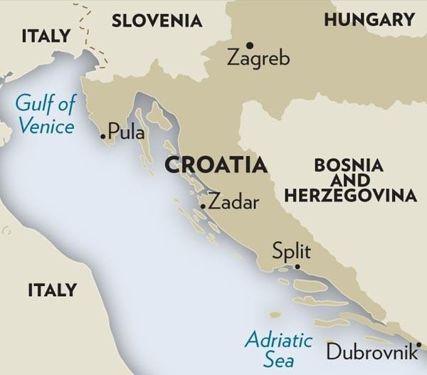 Map of Croatian Coast